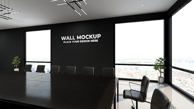 Sala riunioni dal design moderno con mockup a parete nera
