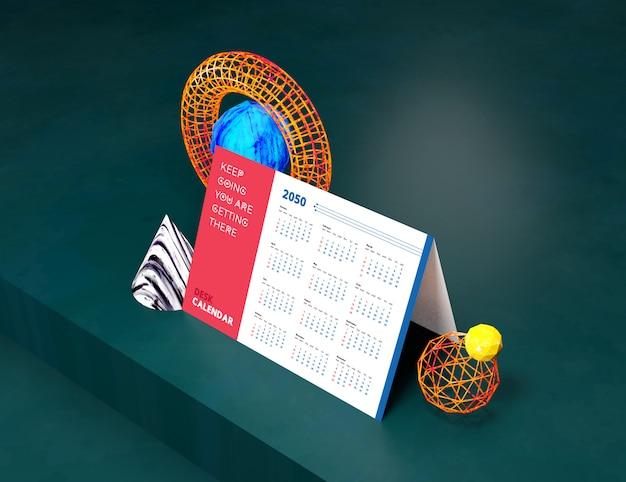 Mockup modificabile del calendario da tavolo moderno