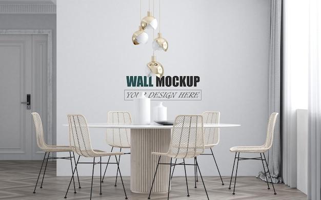 Mockup di parete della decorazione della sala da pranzo moderna