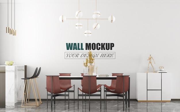 Mockup di parete di design moderno della sala da pranzo