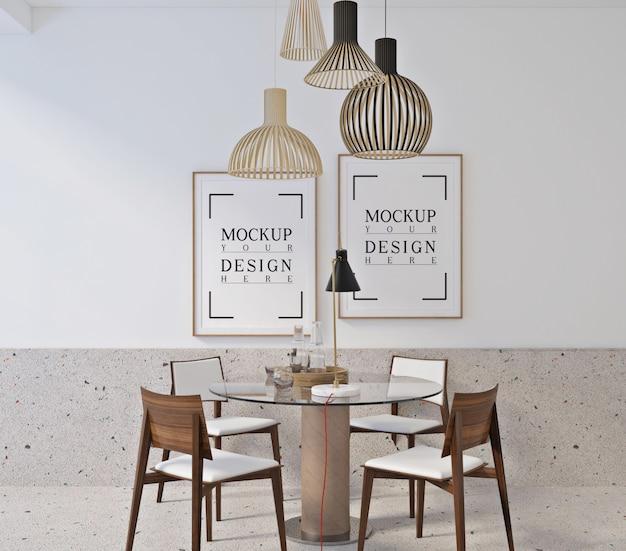 Design moderno della sala da pranzo con poster con cornice mockup