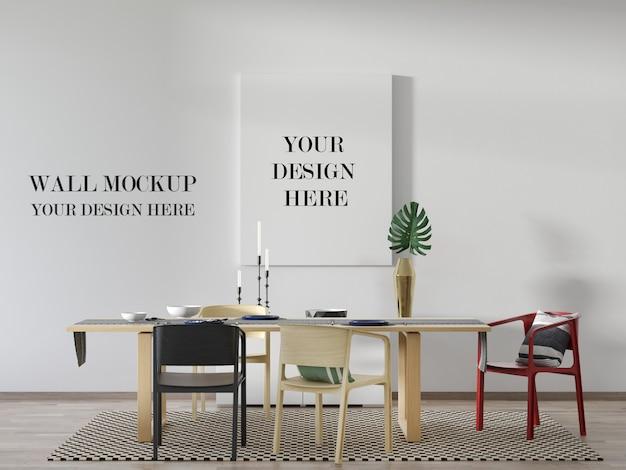 Mockup di parete e tela moderna sala da pranzo con tavolo e sedie