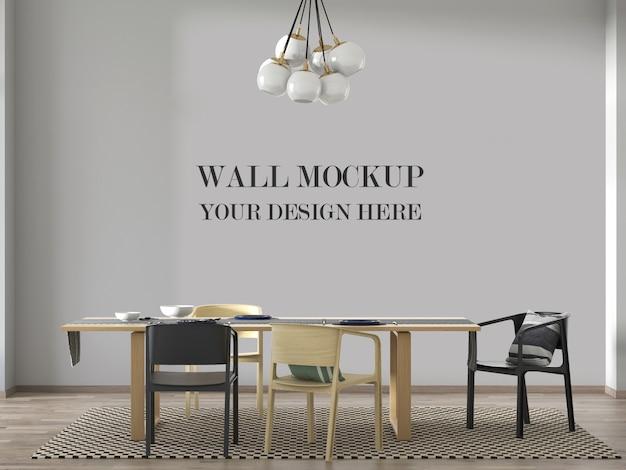Mockup di parete moderna sala da pranzo con tavolo e sedie