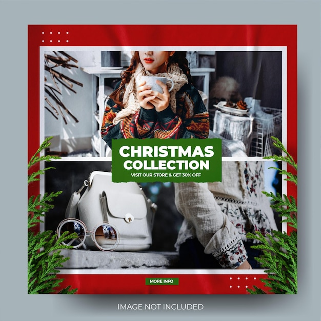 Feed di post di instagram di vendita di moda natalizia dinamica moderna