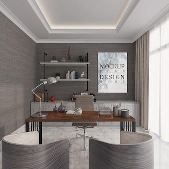 Sala studio moderna ed elegante con poster mockup
