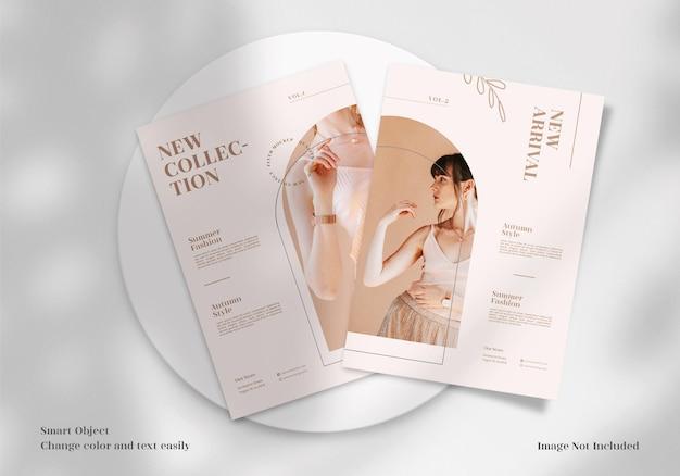 Mockup di volantino, brochure o volantino minimalista moderno ed elegante con design di layout del modello gratuito
