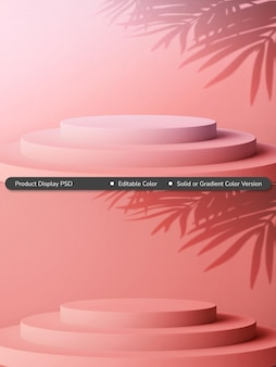 Sfondo di visualizzazione del prodotto a livello del cilindro di colore solido o sfumato rosa femminile moderno