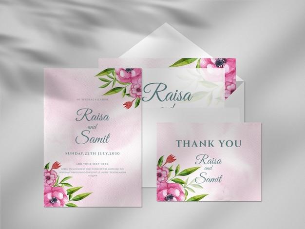 Mockup di carta per biglietti da visita dell'acquerello disegnato a mano floreale moderno con sovrapposizione di ombre