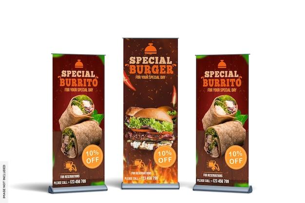 Mockup di banner rollup di cibo moderno