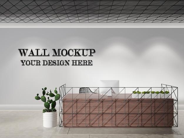 Mock up da parete moderna della reception.