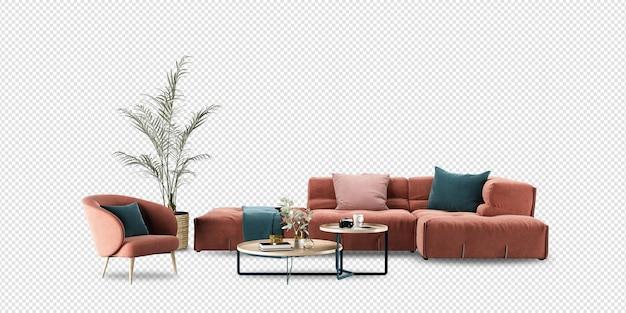 Soggiorno di mobili moderni in rendering 3d