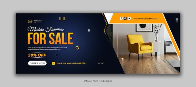 Modello di copertina di facebook per social media di vendita di mobili moderni