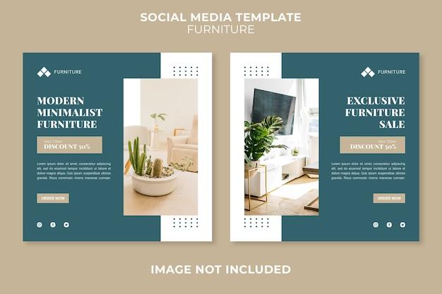 Modello di post di social media di concetto di negozio di mobili moderni
