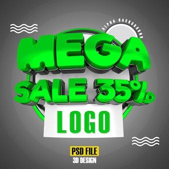 Modello moderno di promozione 35 banner mega vendita verde 3d