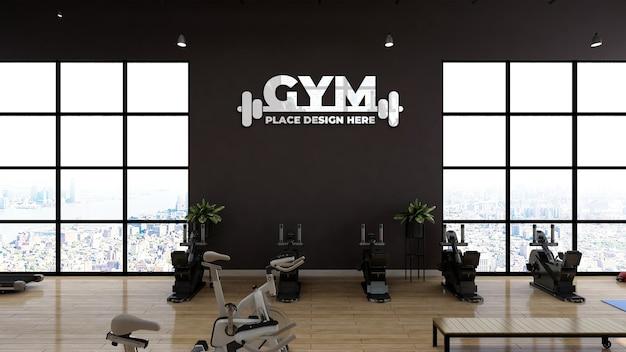 Modello moderno del logo sportivo della parete della palestra o della sala fitness per il branding