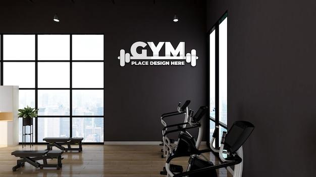 Mockup del logo della parete interna della palestra moderna