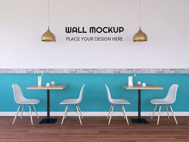 Modern interior cafe wallpaper mockup