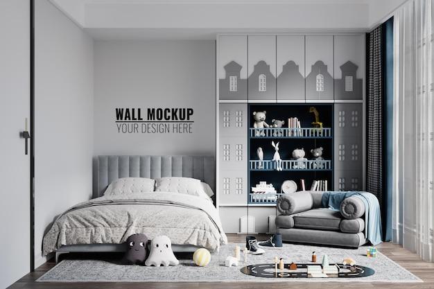 Mockup della parete della camera da letto dei bambini interni moderni