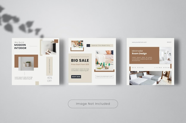 Modern interior design instagram post template banner collection