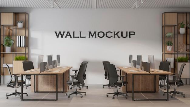 Mockup di parete per ufficio dal design moderno d'interni psd premium