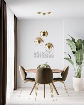 Mockup di parete della sala da pranzo interna moderna con sedia marrone scuro