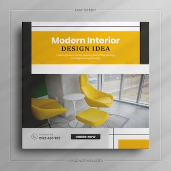 Modello di post sui social media per mobili moderni per interni