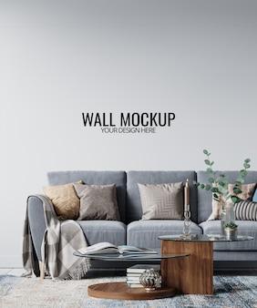 Mockup di parete del soggiorno interno moderno