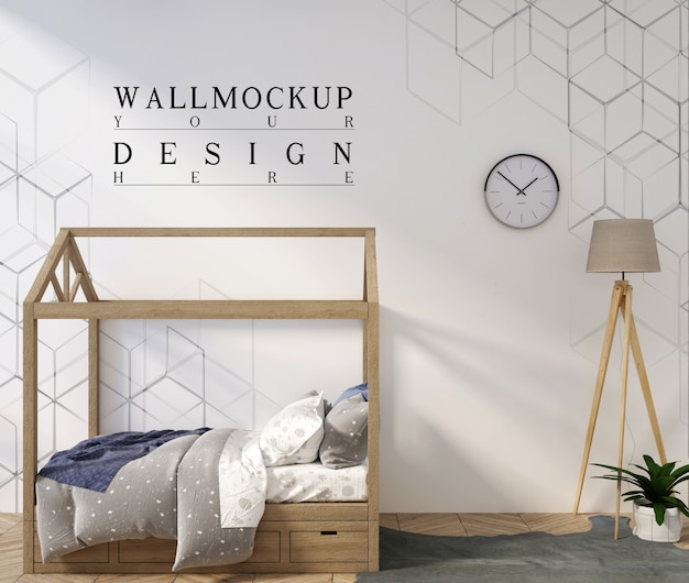 Camera da letto moderna per bambini con parete mockup