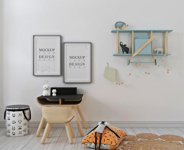 Camera da letto moderna per bambini con mockup di cornice per poster