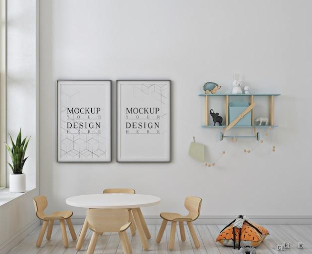 Asilo nido moderno con mockup di fotogrammi di poster