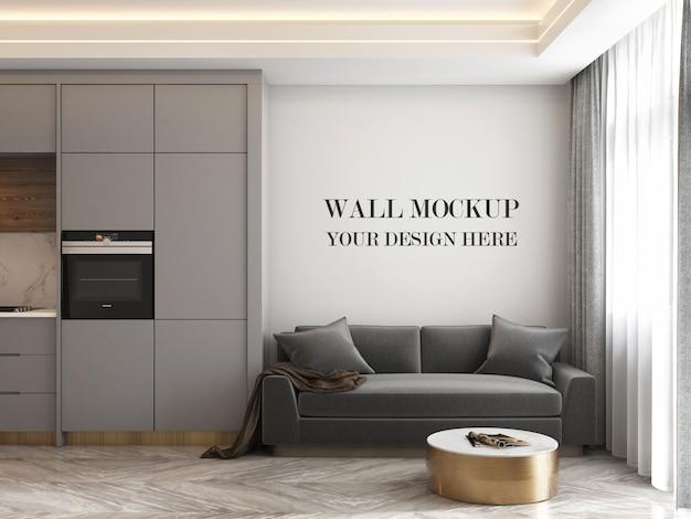 Modello moderno della parete della stanza della cucina con il sofà