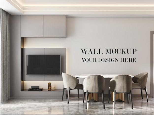 Modello moderno della parete della stanza della cucina con la tavola e le sedie