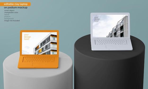 Mockup dello schermo del laptop moderno sulla composizione circolare del podio