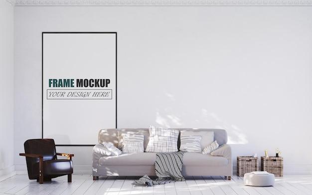 Mockup di cornice di design moderno soggiorno