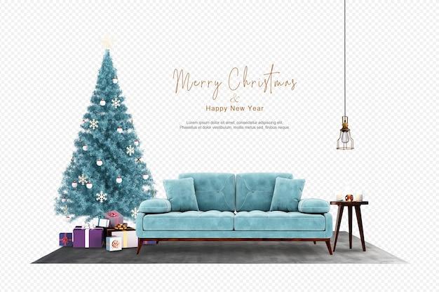 Soggiorno moderno con albero di natale e divano