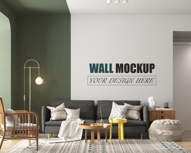 Soggiorno moderno con mockup di pareti con decorazioni colorate