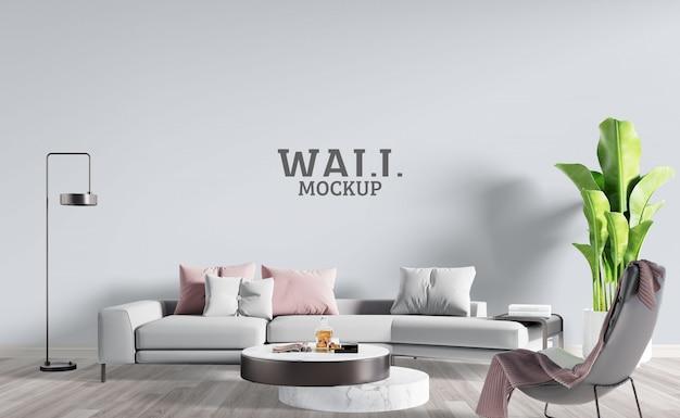 Soggiorno moderno con divano bianco grigio. mockup da parete