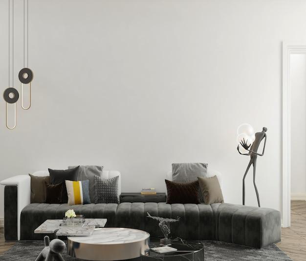 Soggiorno moderno con parete mockup