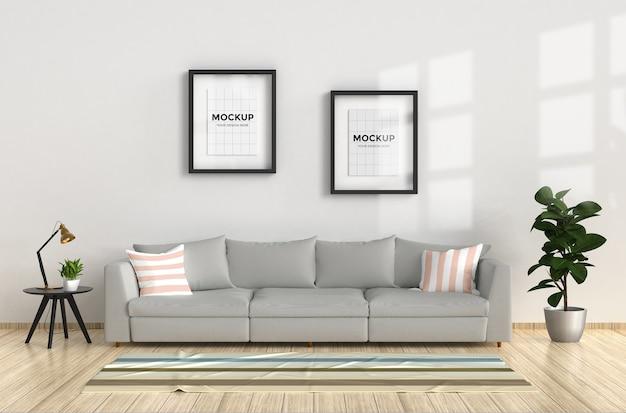 Soggiorno moderno con divano e mockup di cornice