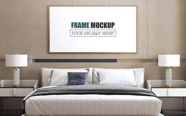 Mockup di cornice di design camera da letto moderna e lussuosa