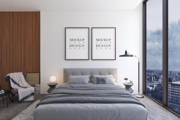 Design moderno della camera da letto di lusso con poster di design mockup