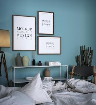 Design moderno della camera da letto di lusso con poster mockup