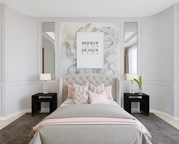 Camera da letto moderna di lusso con poster mockup
