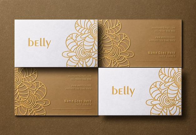 Modello di biglietto da visita moderno e di lusso con stampa tipografica dorata ed effetto rilievo