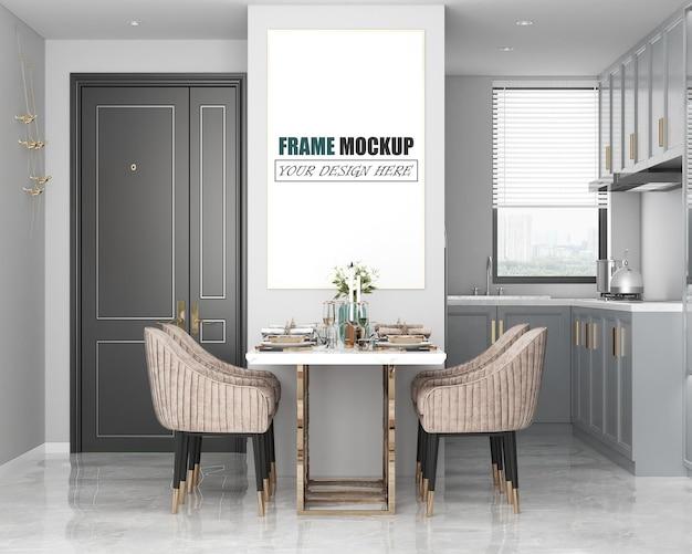 Mockup di cornice spaziale moderna sala da pranzo di lusso