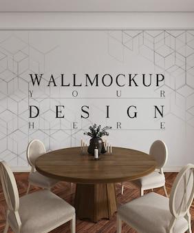 Design moderno e lussuoso della sala da pranzo con parete mockup