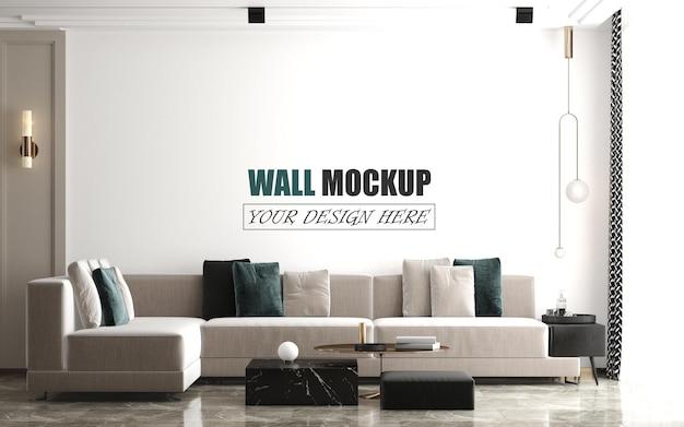 Mockup di parete del soggiorno di lusso moderno