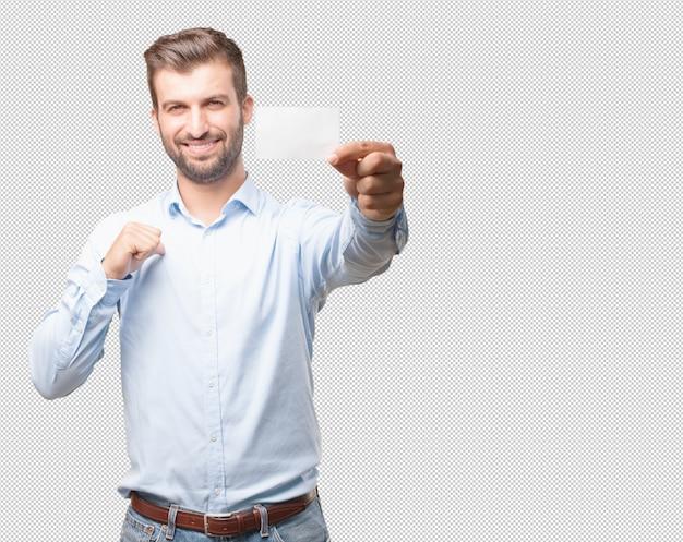 Uomo moderno che mostra biglietto da visita