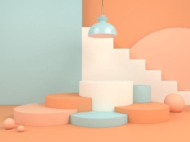 Moderna geometria minima del palco 3d rendering podio display