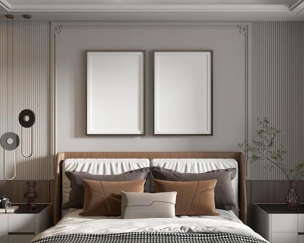 Camera da letto moderna minimalista con poster mockup
